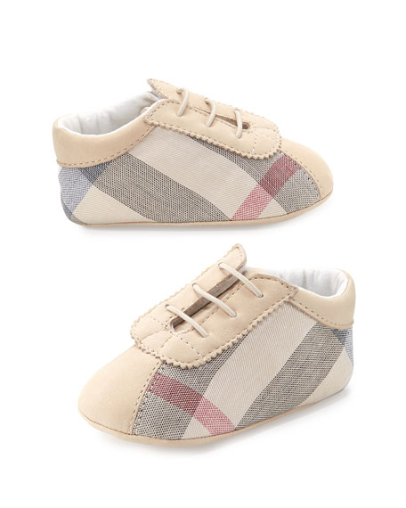 Burberry Bosco Check Newborn Boys' Shoes, Stone