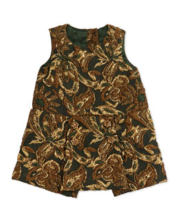 Dolce & Gabbana Brocade Drop-Waist Dress, Burgundy Multi, 3-24 Months