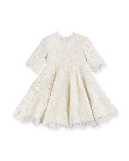 Dolce & Gabbana Guipure Lace Half-Sleeve Dress, Girls' 4-6