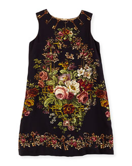 Dolce & Gabbana Rose Tapestry-Print Shift Dress, Girls' 4-6X