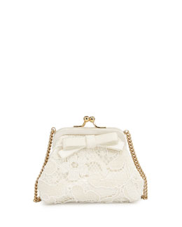 Dolce & Gabbana Girls' Lace/Satin Coin Purse w/Strap, Cream