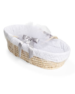 Moses Basket Set, White Dots