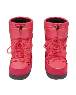 Moncler Nylon and Suede Lace-Up Snow Boot, Pink
