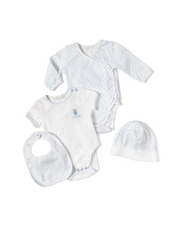 4-Piece Baby Boy Gift Set, White/Blue