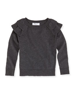 Knit Ruffled Raglan Sweater, Sizes 8-12