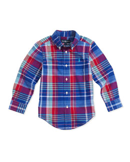 Ralph Lauren Childrenswear Madras Plaid Button-Down Shirt, Royal Multi, Boys' 2T-3T