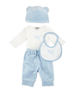 Armani Junior Four-Piece Gift Set, Blue/White, 3-12 Months