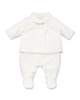 Armani Junior Velour Jacket & Playsuit Set, White, Sizes 3-12 Months