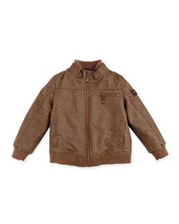 Armani Junior Faux-Leather Jacket, Dark Brown