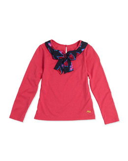 Little Marc Jacobs Girls' Bow-Collar Long-Sleeve Tee, Red, Sizes 2-5