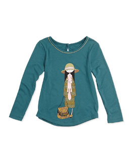 Little Marc Jacobs Girls' Miss Marc Printed Tee, Green, Sizes 2-5