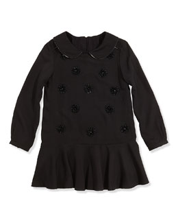 Little Marc Jacobs Girls' Embellished Crepe Dress, Black, 2-5