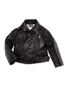 Girls' Leather Biker Jacket, Black, 4Y-14Y