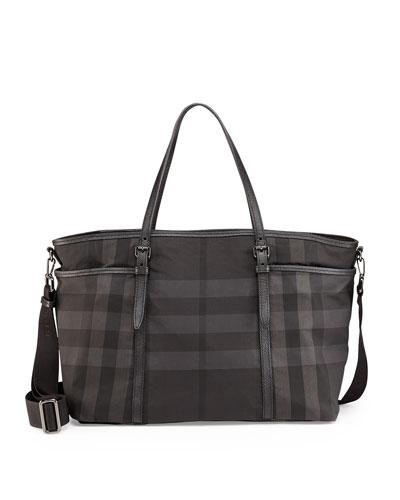 Graceford Tonal Check Diaper Bag, Black
