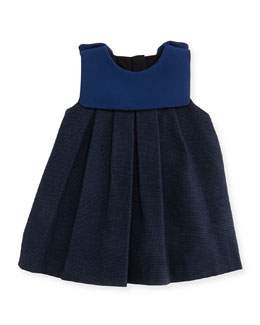 Chloe Pindot Dress with Crepe Detail, Dark Ink