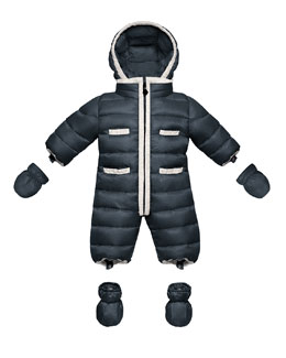 Moncler Quilted Nylon Snowsuit, Navy, 3-18 Months