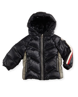 Moncler Cyprien Hooded Nylon Coat, Navy, 3-18 Months