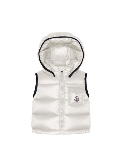 Brice Quilted Nylon Vest with Hood, Cream, 3M-3T