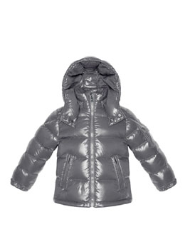 Moncler Maya Shiny Nylon Jacket, Silver, Sizes 2-6