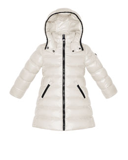Moncler Moka Long Quilted Puffer Coat, Cream, Sizes 2-6