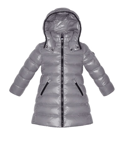 Moka Long Quilted Puffer Coat, Silver, Sizes 2-6