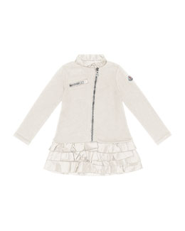 Moncler Zip-Front Drop-Waist Dress, Cream, Sizes 2-6