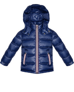 Moncler Gaston Hooded Quilted Jacket, Blue, Sizes 8-14