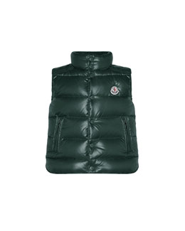 Tib Quilted Puffer Vest, Forest Green, Sizes 8-14