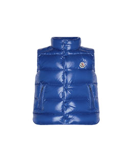 Moncler Tib Quilted Puffer Vest, Blue, Sizes 8-14