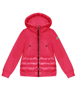 Moncler Fleece Hoodie with Nylon Trim, Bright Pink, Sizes 8-14