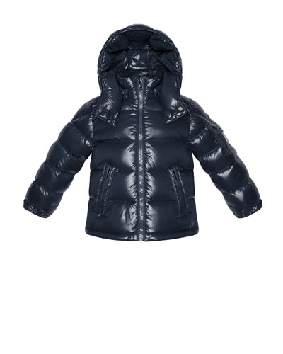 Maya Shiny Nylon Jacket, Navy, Sizes 2-6