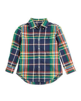 Ralph Lauren Childrenswear Blake Plaid Twill Shirt, Navy Multi, 2T-3T