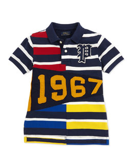 Ralph Lauren Childrenswear Pennant Striped Mesh Polo, 2T-3T