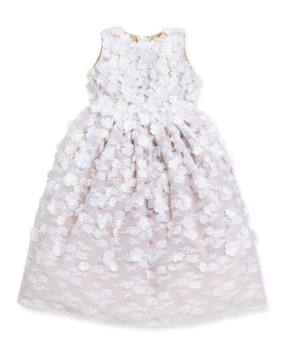 Lace & Floral-Applique Dress, White/Spun Gold, Sizes 4-12