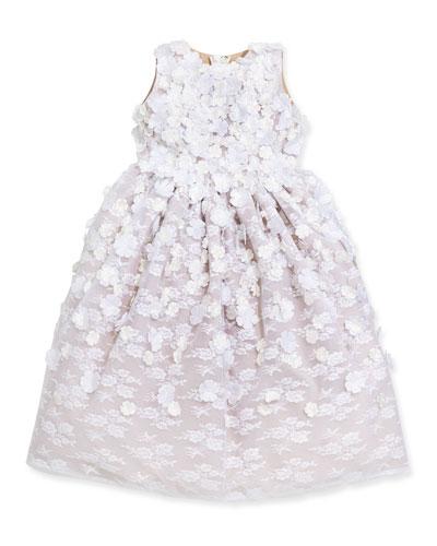 Lace & Floral-Applique Dress, White/Spun Gold, Sizes 4-12