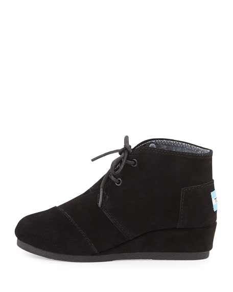 Desert Suede Wedge Bootie, Black, Youth