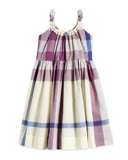 Check-Print Poplin Dress, Pale/Mauve, Size 4-14