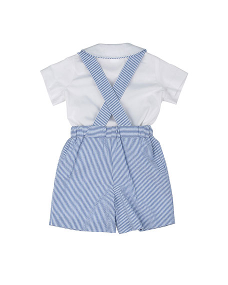Seersucker Shorts w/ Suspenders & Poplin Shirt, Royal/White