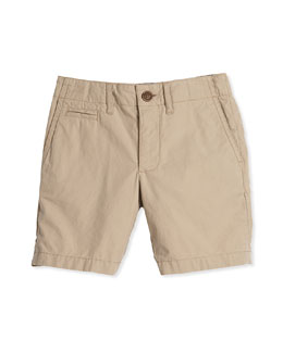 Straight-Leg Khaki Shorts, Honey, Size 4Y-14Y