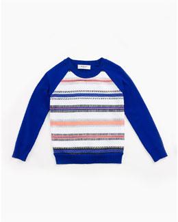 Couture-Stripe Raglan Sweatshirt, Cobalt, Size 8-14
