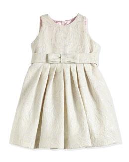 Floral-Jacquard Dress, Platinum/Ivory, Sizes 7-14