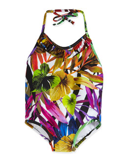 Tropical-Print One-Piece Halter Swimsuit, Multicolor, Size 8-14