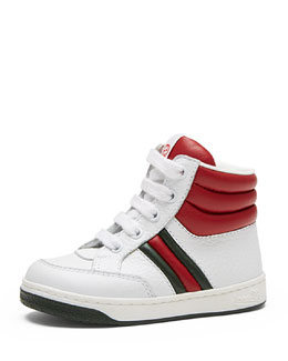 Ronnie Junior Leather High-Top Sneaker, White/Red/Green, Toddler