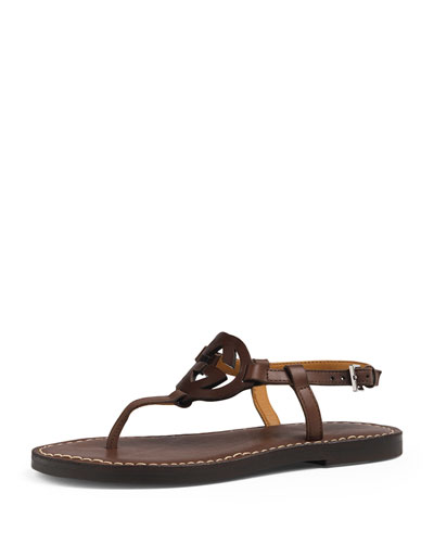 Minerva Junior Leather Thong Sandal, Chocolate