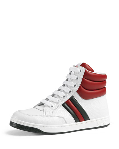 Ronnie Junior Leather High-Top Sneaker, White/Red/Green