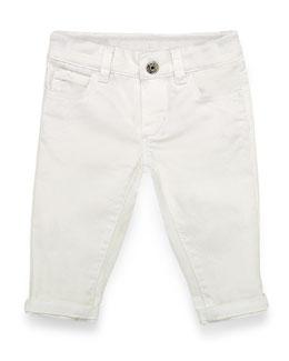 Skinny Denim Jeans, White, Size 3-36 Months