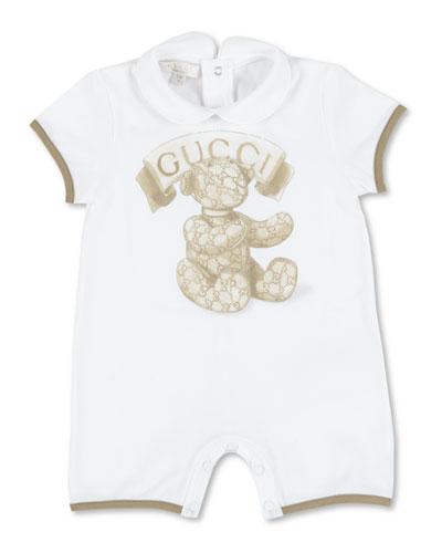 Teddy Bear & Logo Shortall, White/Beige, Size 3-18 Months