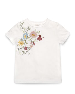 Embroidered Jersey Tee, White/Multicolor, Size 4-12