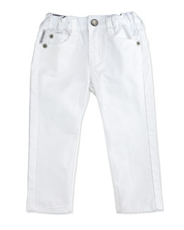 Slim-Fit Stretch-Denim Pants, White, Size 6-24 Months