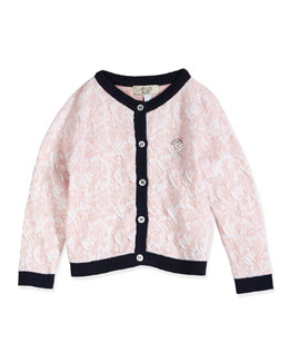 Paisley-Jacquard Cotton Cardigan, Pink, Size 3-24 Months